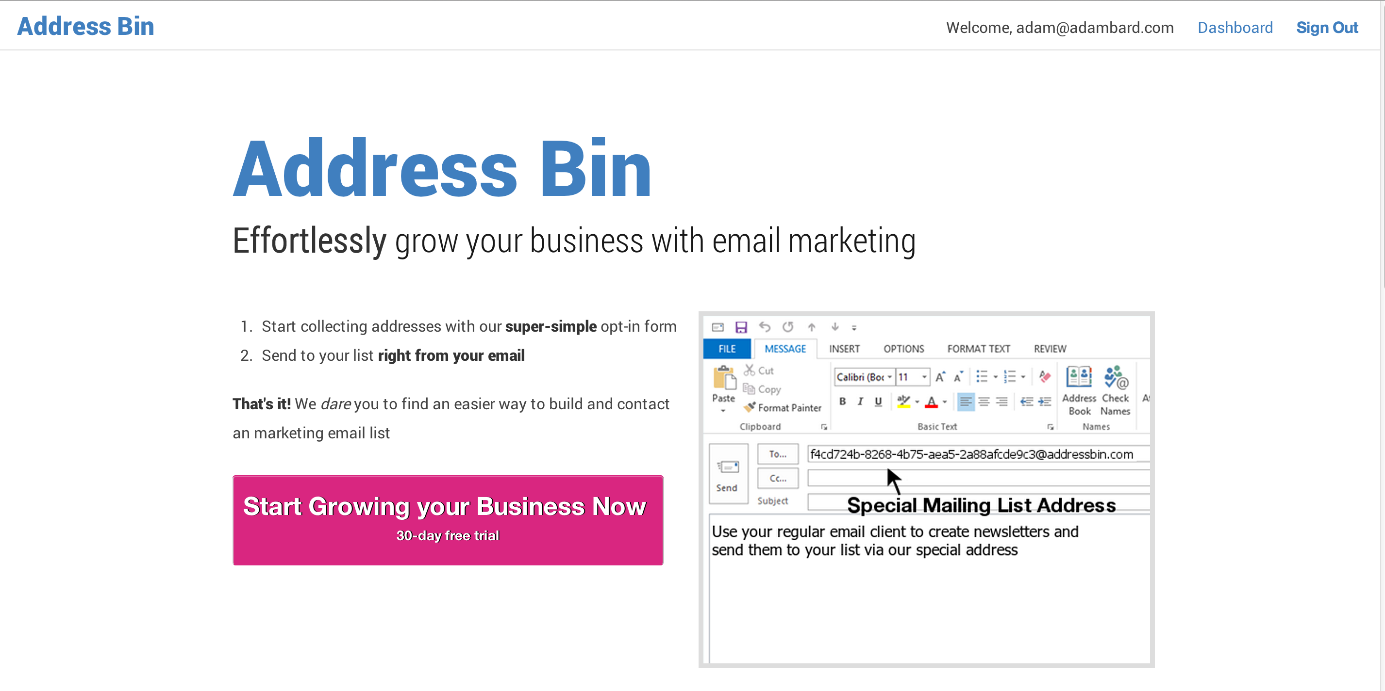 Screenshot of Addressbin.com: Easy Email Marketing right from Outlook